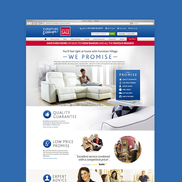 Furniture Village Guarantee rice and pixel ltd - interactive digital design and development